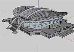 某现代风格详细的会展文化馆建筑设计SU(草图大师)模型