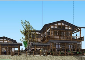 中式风格详细的完整农家乐建筑素材设计SU(草图大师)模型