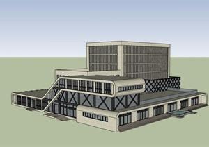 现代风格独特详细的完整办公建筑楼SU(草图大师)模型