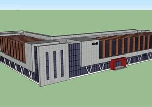 现代风格详细的多层学校综合建筑楼设计SU(草图大师)模型