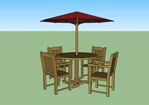 木质红色洋伞桌椅SU(草图大师)模型