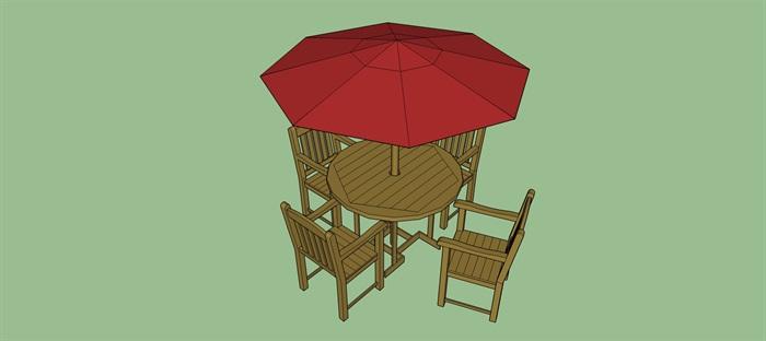 木质红色洋伞桌椅su模型