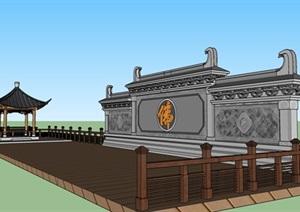 佛教景观照壁及木平台SU(草图大师)模型