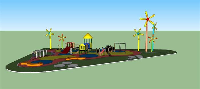 七彩儿童游乐设施景观su模型