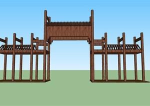 田园综合体及景区木质大门SU(草图大师)模型