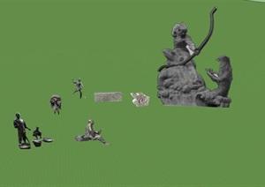 景区景观雕塑情景雕塑SU(草图大师)模型