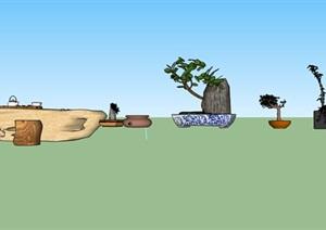 民俗院落景观盆景及木质茶座小品SU(草图大师)模型