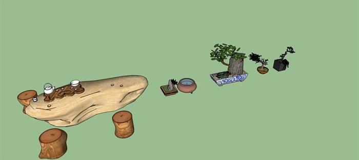 民俗院落景观盆景及木质茶座小品su模型