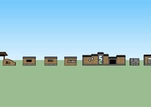 农村特色景墙设计SU(草图大师)模型