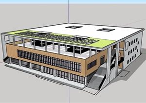 现代风格详细的经典多层完整教育建筑楼设计SU(草图大师)模型