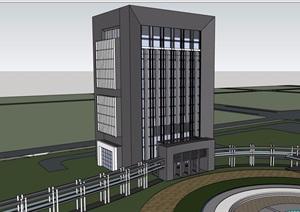 某现代风格详细的整体办公建筑楼SU(草图大师)模型