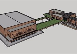 某现代独特详细的完整多层学校建筑设计SU(草图大师)模型