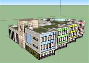 现代风格详细的多层完整教育建筑楼设计SU(草图大师)模型