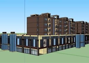 现代风格详细的多层商业住宅楼设计SU(草图大师)模型