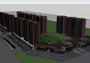 某现代风格详细的商业住宅小区楼SU(草图大师)模型