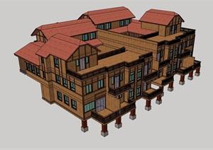 欧式风格详细的双拼合院别墅建筑SU(草图大师)模型