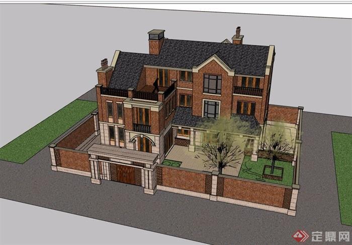欧式风格详细的多层独栋住宅别墅设计su模型