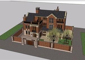 欧式风格详细的多层独栋住宅别墅设计SU(草图大师)模型