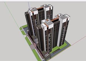 现代风格详细的商业住宅高层建筑楼设计SU(草图大师)模型
