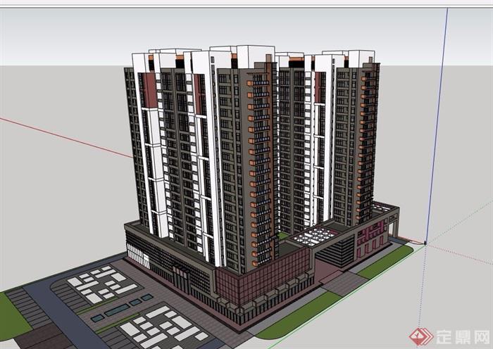 现代风格详细的商业住宅高层建筑楼设计su模型