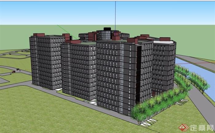 现代风格详细的小区高层建筑楼设计su模型