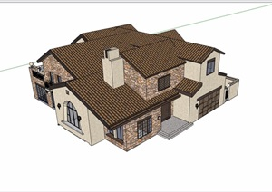 欧式风格详细的完整多层住宅别墅设计SU(草图大师)模型