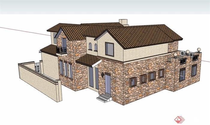 欧式风格详细的完整多层住宅别墅设计su模型