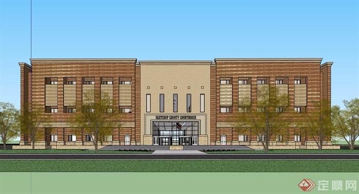 现代风格详细的多层完整商业中心建筑设计su模型