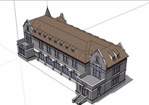 英式风格详细的完整多层商业楼设计SU(草图大师)模型