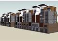 中式风格详细的多层商业住宅楼设计su模型