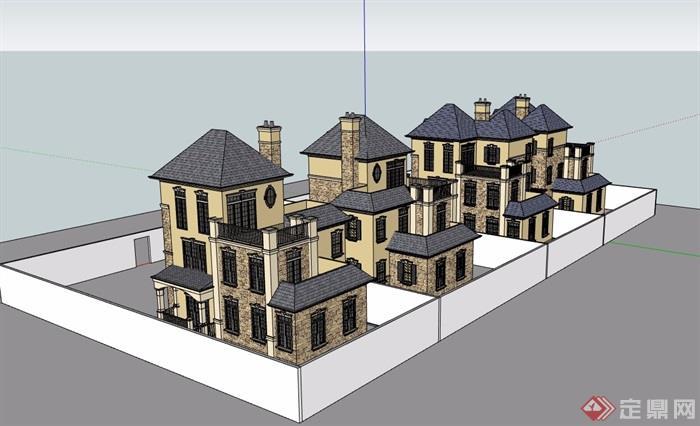 英式风格双拼住宅完整别墅设计su模型