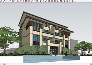 四层风格详细的新古典别墅建筑设计SU(草图大师)模型
