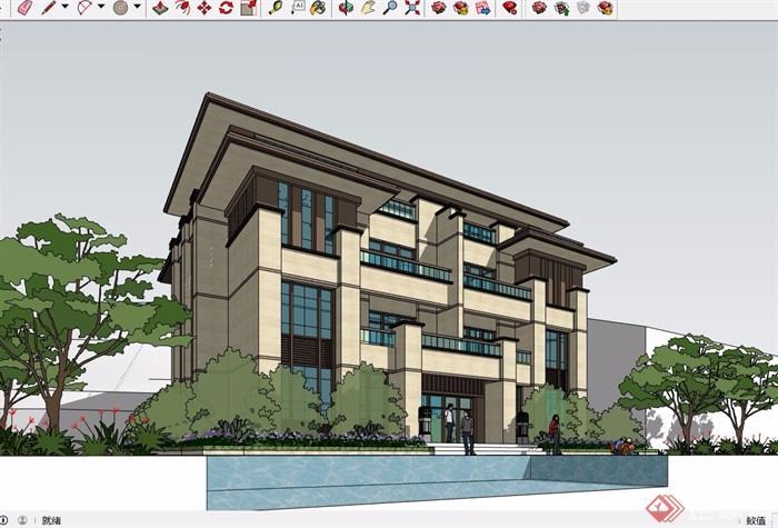 四层风格详细的新古典别墅建筑设计su模型
