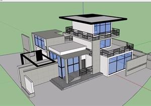 某现代三层详细的住宅多层别墅建筑设计SU(草图大师)模型