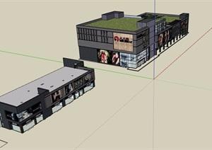 某现代风格详细的商业商业建筑设计SU(草图大师)模型