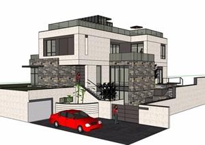 现代风格多层详细的精致完整别墅设计SU(草图大师)模型