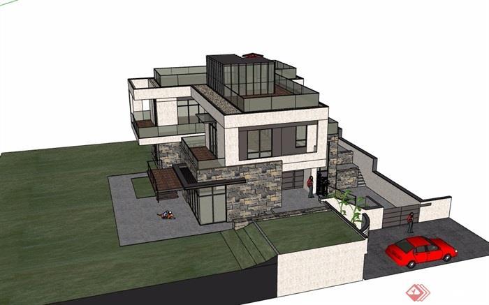 现代风格多层详细的精致完整别墅设计su模型