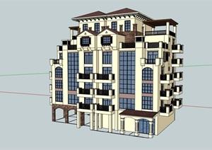西班牙风格详细的精致住宅洋房建筑楼设计SU(草图大师)模型