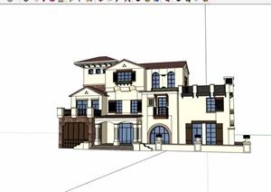 欧式风格详细的多层私人住宅别墅设计SU(草图大师)模型