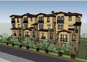 欧式风格详细的完整住宅小区别墅建筑设计SU(草图大师)模型