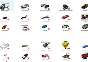 各种交通工具 汽车 马车  火车 船 等SU(草图大师)模型集合