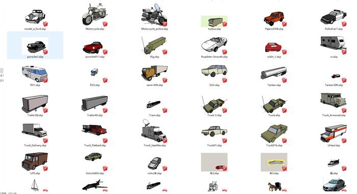 各种交通工具 汽车 马车  火车 船 等SU模型集合(3)