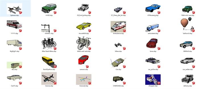 各种交通工具 汽车 马车  火车 船 等SU模型集合(2)