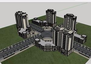 新古典风格详细的完整酒店设计SU(草图大师)模型