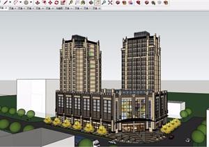 新古典风格详细的完整商业住宅楼SU(草图大师)模型