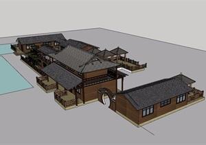 某中式风格农家乐详细建筑设计SU(草图大师)模型
