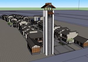 中式风格详细的完整多层商业楼建筑设计SU(草图大师)模型