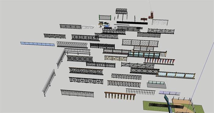 各种栏杆SU模型集合(2)