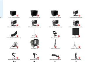 各种摄影舞台用品sktch up模型集合