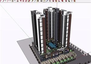 现代风格详细的整体商业住宅建筑楼设计SU(草图大师)模型